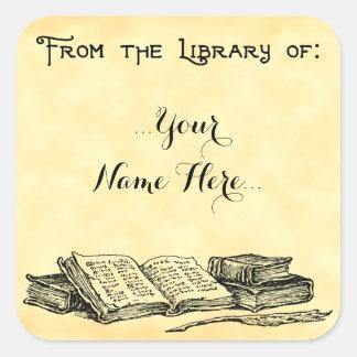 Adesivo Quadrado Da biblioteca do vintage registra o Bookplate