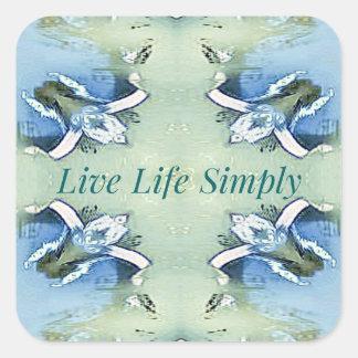 Adesivo Quadrado 'Da vida estilo de vida vivo pairoso claro