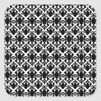 Adesivo Quadrado Damasco preto e branco maravilhoso