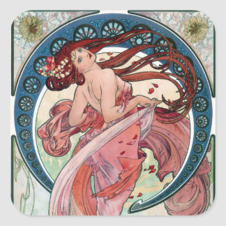 Adesivo Quadrado Dança de Alfons Mucha 1898