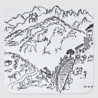Adesivo Quadrado d'Asco áspero | Córsega de Val, France