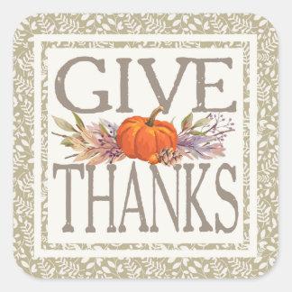 Adesivo Quadrado Dê a acção de graças do outono dos obrigados  