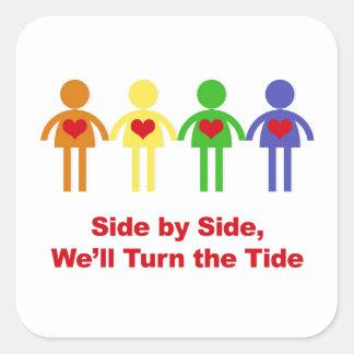 Adesivo Quadrado De lado a lado, nós giraremos a maré
