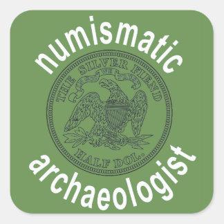 Adesivo Quadrado Decalque numismático do arqueólogo