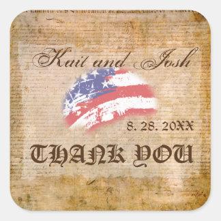 Adesivo Quadrado Declaração do obrigado do patriota dos EUA da