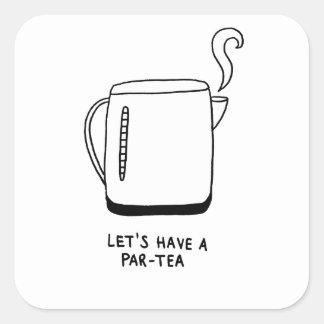 Adesivo Quadrado Deixe-nos comer um Paridade-Chá