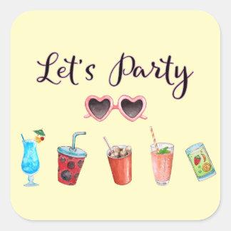 Adesivo Quadrado Deixe-nos Party a reunião do verão