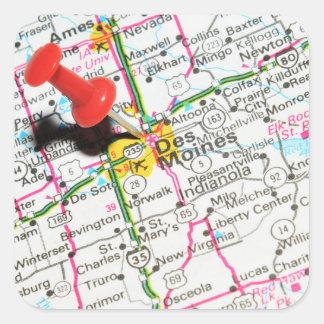 Adesivo Quadrado Des Moines, Iowa