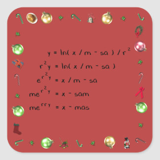 Adesivo Quadrado Desejo do Natal da matemática