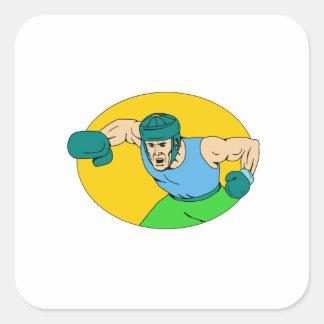 Adesivo Quadrado Desenho amador do perfurador de KO do pugilista