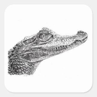 Adesivo Quadrado Desenho da tinta do crocodilo do bebê