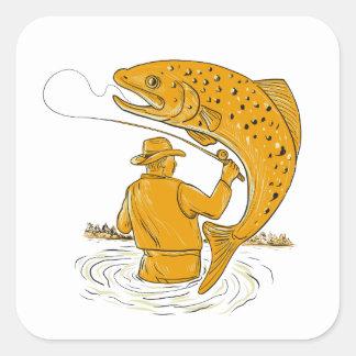Adesivo Quadrado Desenho de enrolamento da truta do pescador da