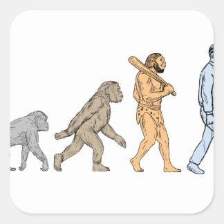 Adesivo Quadrado Desenho de passeio da evolução humana