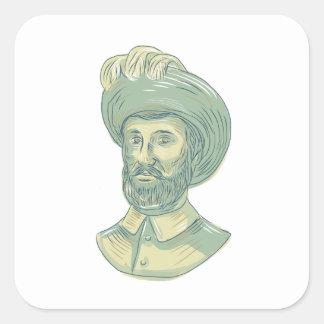 Adesivo Quadrado Desenho do busto de Juan Sebastian Elcano