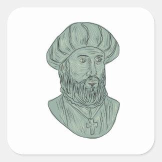 Adesivo Quadrado Desenho do busto do explorador de Vasco da Gama