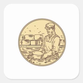 Adesivo Quadrado Desenho do círculo do queijo cheddar do fazer do