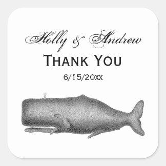 Adesivo Quadrado Desenho do século XIX da baleia do vintage