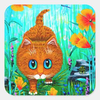 Adesivo Quadrado Desenhos animados alaranjados Creationarts do gato