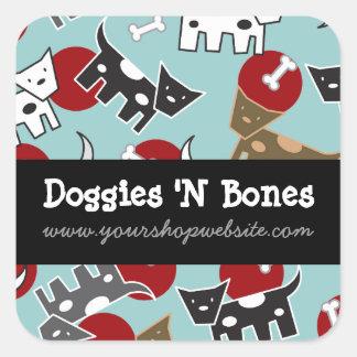 Adesivo Quadrado Desenhos animados bonitos loja de animais de