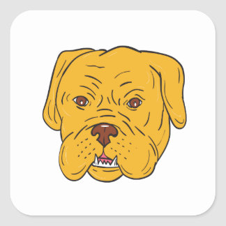 Adesivo Quadrado Desenhos animados da cabeça de cão do Bordéus
