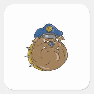 Adesivo Quadrado Desenhos animados da cabeça do polícia do buldogue