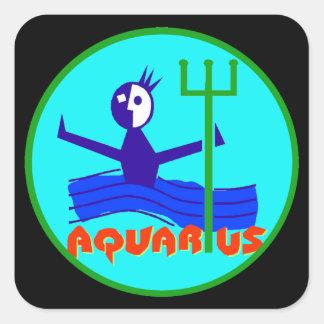 Adesivo Quadrado Desenhos animados do Aquário o horóscopo do