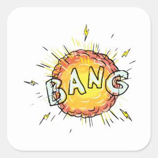 Adesivo Quadrado Desenhos animados do golpe da explosão