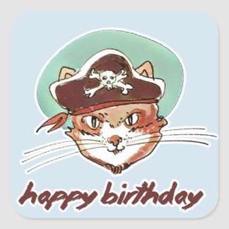 Adesivo Quadrado desenhos animados doces do feliz aniversario do