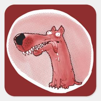 Adesivo Quadrado desenhos animados engraçados do cão estúpido