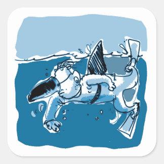 Adesivo Quadrado desenhos animados engraçados do estilo falsificado