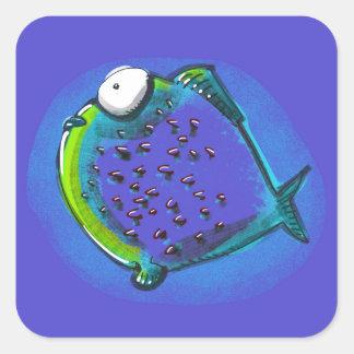 Adesivo Quadrado desenhos animados engraçados dos peixes estranhos