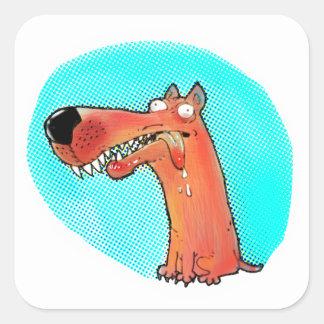 Adesivo Quadrado desenhos animados estúpidos engraçados do cão