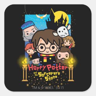 Adesivo Quadrado Desenhos animados Harry Potter e a pedra do