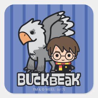 Adesivo Quadrado Desenhos animados Harry Potter e Buckbeak