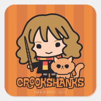 Adesivo Quadrado Desenhos animados Hermione e Crookshanks