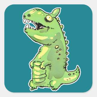 Adesivo Quadrado desenhos animados pequenos do dinossauro verde