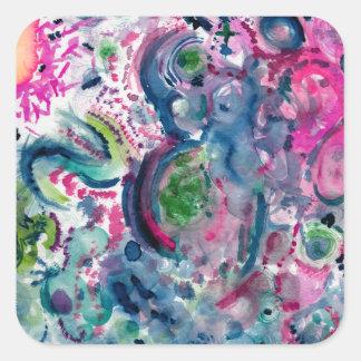 Adesivo Quadrado design abstrato colorido do divertimento