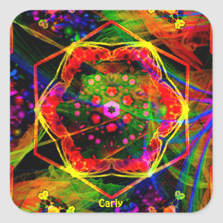 Adesivo Quadrado ~ design brilhante CARLY ~Personalised do teste