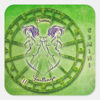 Adesivo Quadrado Design da astrologia do zodíaco dos Gêmeos