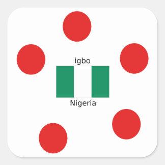 Adesivo Quadrado Design da língua da bandeira e do Igbo de Nigéria