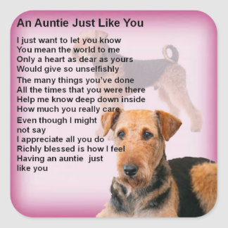 Adesivo Quadrado Design de Airedale Terrier - poema do Auntie