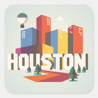 Adesivo Quadrado Design de Houston, arquitectura da cidade de Texas
