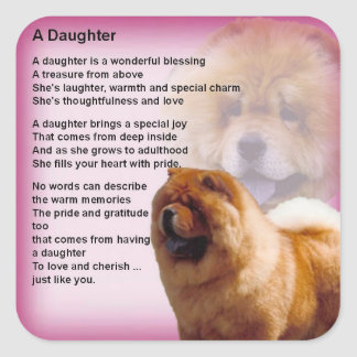 Adesivo Quadrado Design do cão da comida de comida - poema da filha