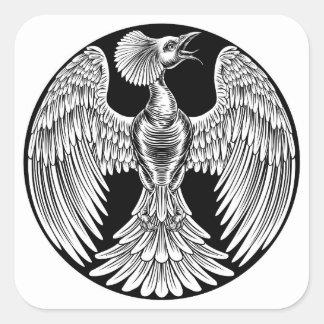 Adesivo Quadrado Design do pássaro do fogo de Phoenix