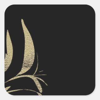 Adesivo Quadrado Design do teste padrão do Flourish do preto e do