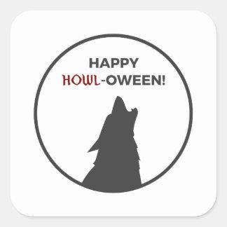 Adesivo Quadrado Design feliz do Dia das Bruxas do homem-lobo do