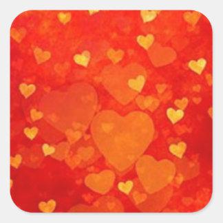 Adesivo Quadrado Design gráfico do coração dos namorados