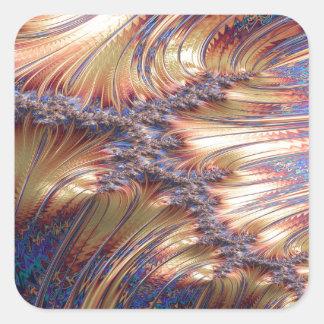 Adesivo Quadrado Design reflexivo tripartido do fractal do por do