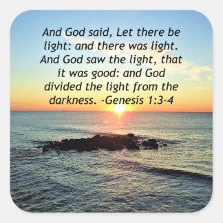 Adesivo Quadrado Design sereno da bíblia do 1:3 da génese do nascer