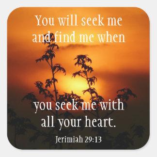 Adesivo Quadrado Deus do achado quando você procurarar o 29:13 de